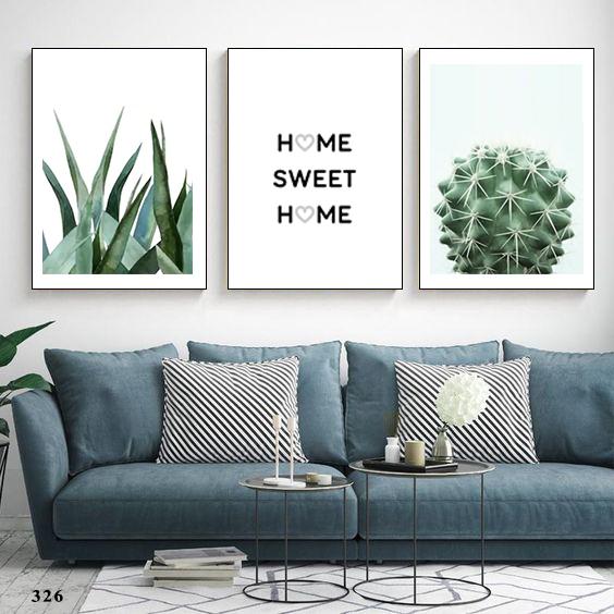BỘ 3 tranh hô xương rồng, home sweet home