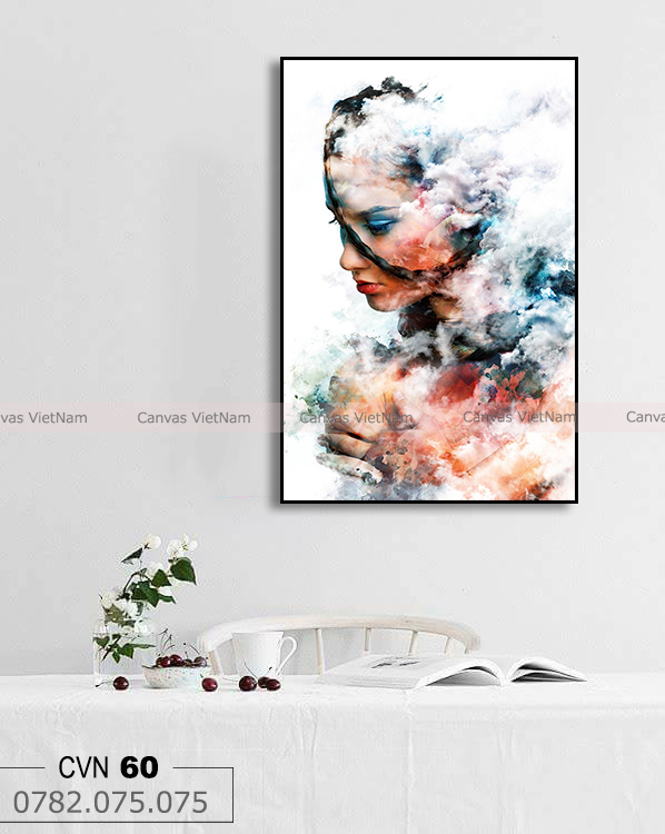Tranh đơn trừu tượng cô gái và làng mây